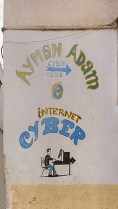 morocco sign mural internet cafe painted