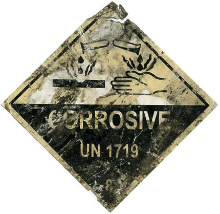 sign corrosive danger acid old dirty isolated