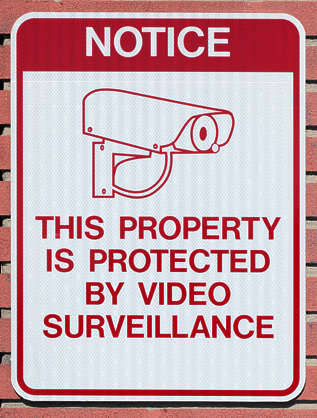 sign surveillance warning notice usa united states american camera