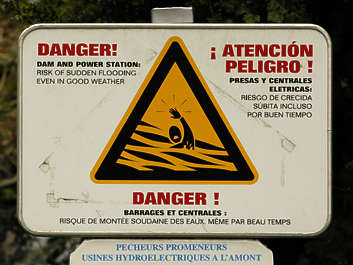 sign warning flash flood swimming danger