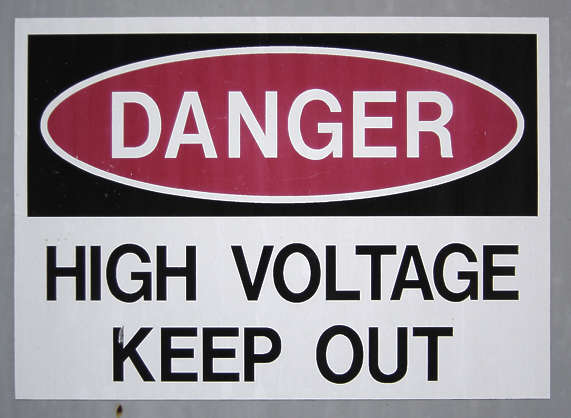 sign warning high voltage isolated