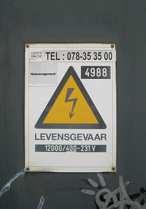 sign electricity warning danger