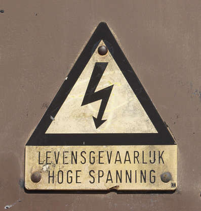 sign warning safety high voltage lightning