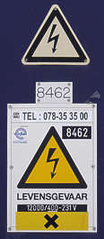 sign warning high voltage shock danger lightning arrow