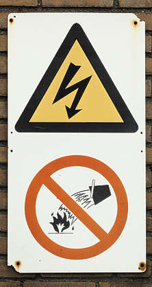 sign fire water extinguish danger electricity