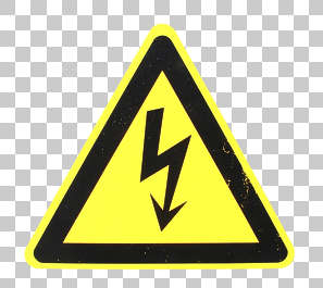 sign warning electricity isolated