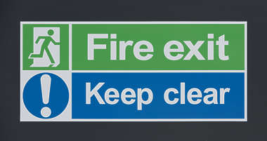 sign UK traffic fire exit