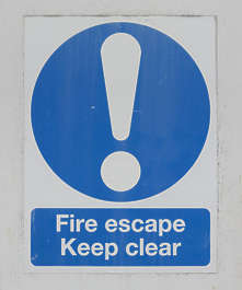 sign UK traffic fire escape