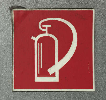 extinguisher fire sign old