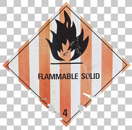 sign warning fire flammable solid danger sticker isolated