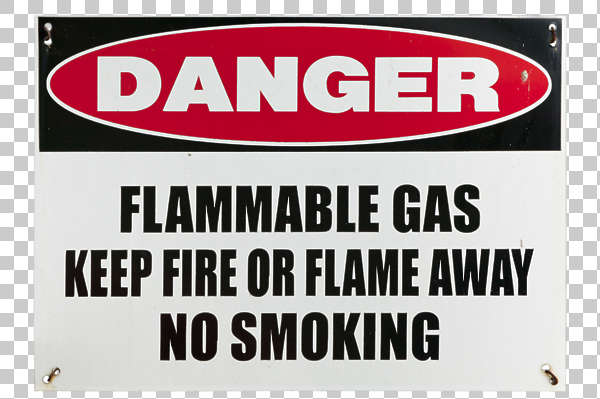 sign english new york NY US danger gas flammable fire no smoking