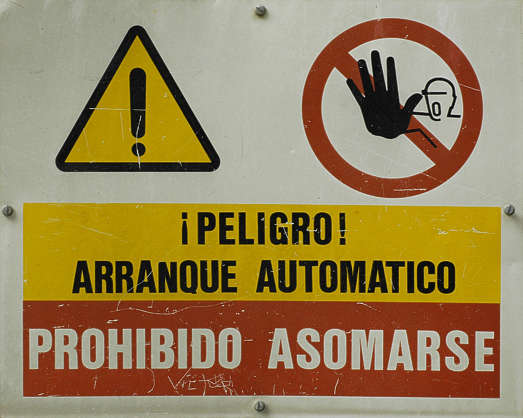 sign signs danger warning spanish stop