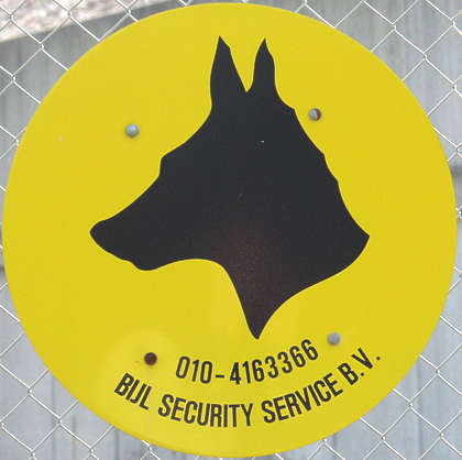 sign warning dog safety security