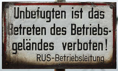 sign german warning old rust