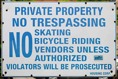 sign english new york NY US private property trespassing