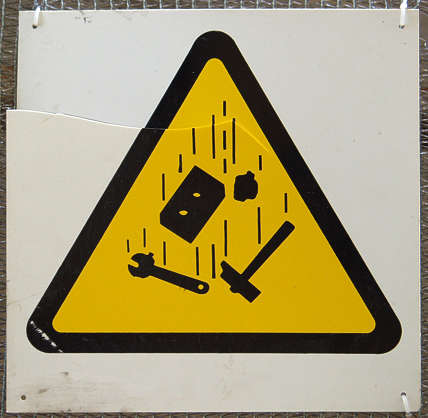 sign warning danger falling objects
