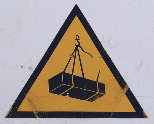 sign warning cargo fall danger hook isolated