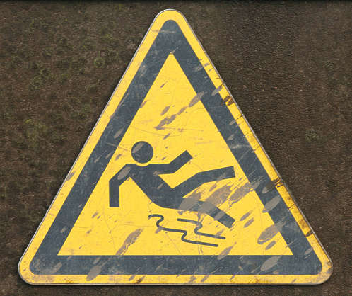 sign slippery danger fall