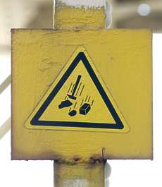 sign danger falling
