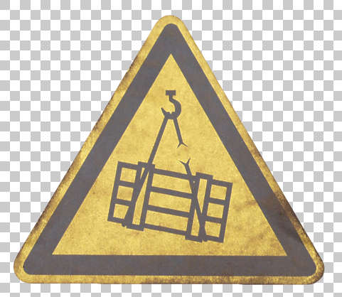 sign warning cargo break fall danger hook snap isolated