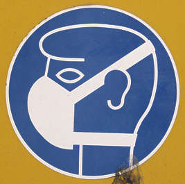 sign safety warning mask wear head dust dustmask isolated masked alpha