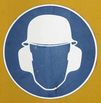 sign warning safety ear protection