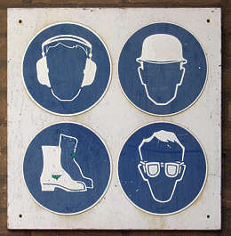sign safety warning ear protection helmet head hardhat boots foot goggles eye glasses isolated masked alpha