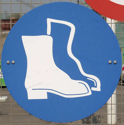 sign safety boots protection