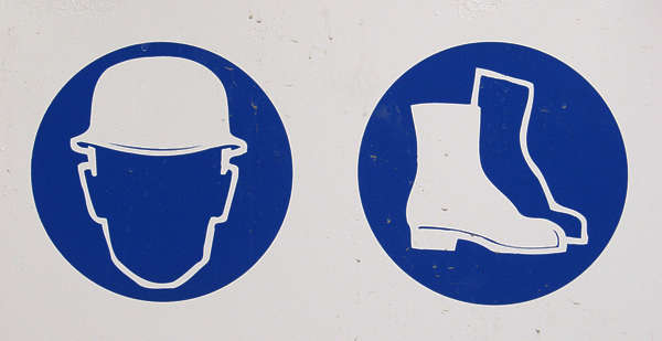 sign safety head protection helmet hardhat boots