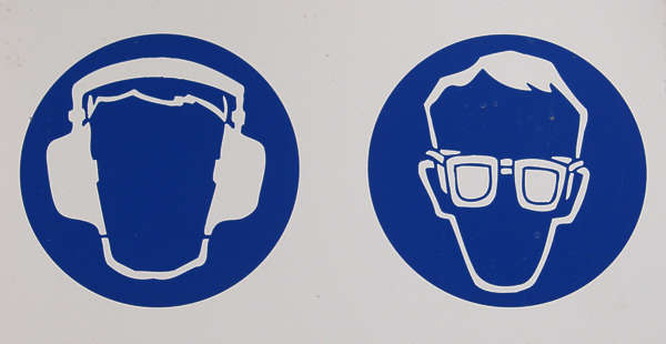 sign safety head ear protection glasses goggles eye