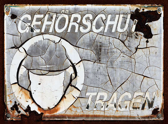 sign warning german old rust