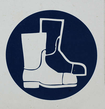 sign warning protective clothing boots isolated