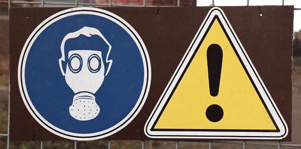sign warning gas mask protective clothing attention