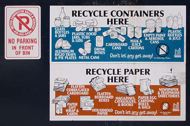 sign trash recycle paper