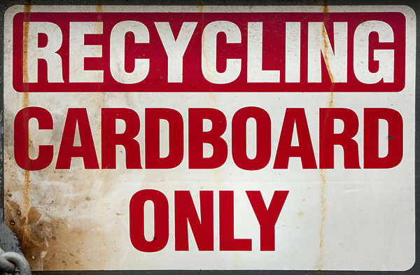 sign english new york NY US trash cardboard recycling