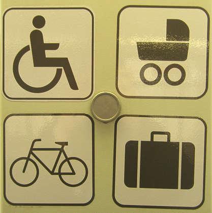 sign wheelchair bike suitcase