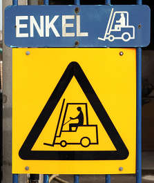 sign warning forklift fork lift danger