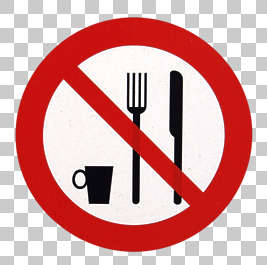 sign warning forbidden eating fork knife cup drinking isolated masked alpha