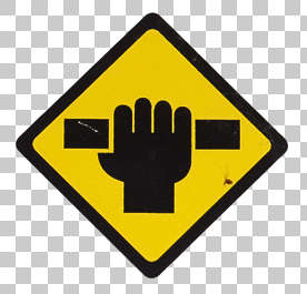 sign attention hand handle sticker isolated