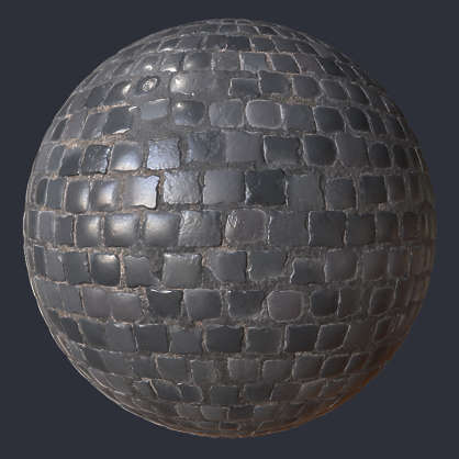 Substance material shader PBR brick cobblestone paving old shiny medieval