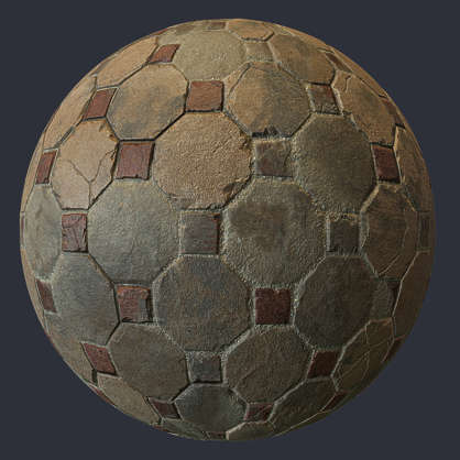 substance shader material street cobblestone pavement floor old temple brick octagon