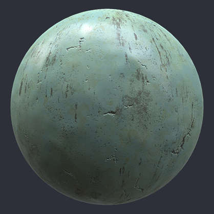 Substance material shader PBR bronze patina statue old green smart Painter spsm metal shiny customizeable
