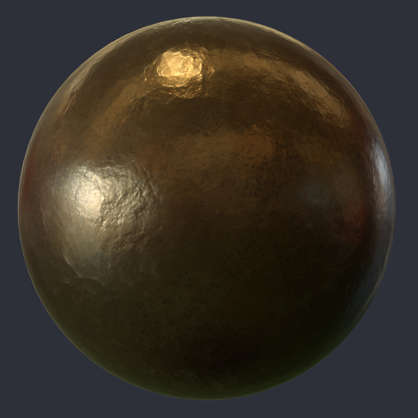 Substance material shader PBR bronze metal shiny polished statue