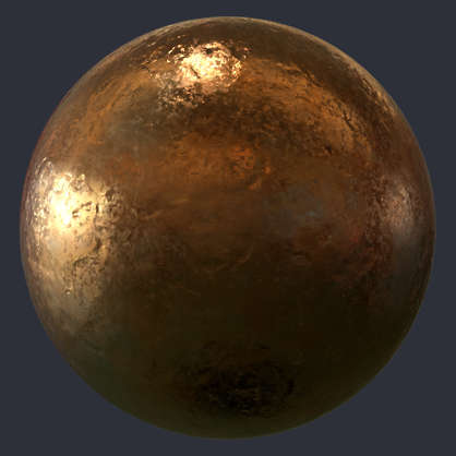 Substance material shader PBR bronze clean polished new