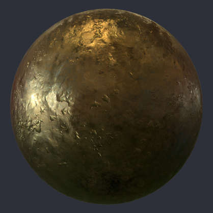 Substance material shader PBR bronze clean polished rough dents dented