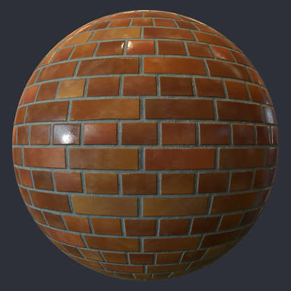 Substance material shader PBR ceramic brick clean new glossy shiny