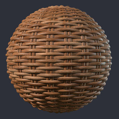Substance material shader PBR wicker rattan fabric basked weave woven old new bamboo brown clean medieval