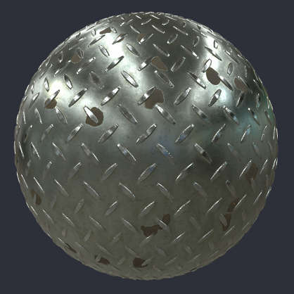 Substance material shader PBR metal floor threadplate thread plate tear bare customizable