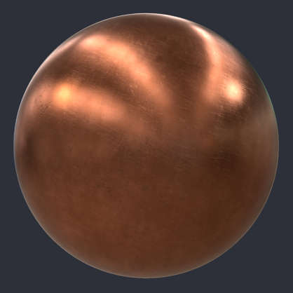 Substance material shader PBR copper old repolished polished scratches spots metal heatsink