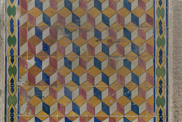 tile pattern wall azulejo geometric cubes simple Portugal patterned